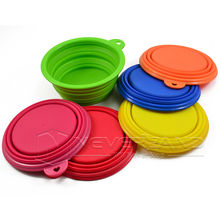 Pet Dog Cat Fashion Portable Silicone Collapsible Feeding Water Feeder Travel Bowl Dish Free shipping(China)