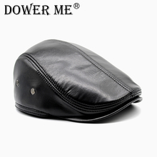 Dower me Genuine Leather Men's Cap Most Popular Cap/Hat Fashion Men's Winter Cap Adult Striped Chapeu CS19