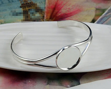 High Quality 25mm Silver Plated Bangle Base Bracelet Blank Findings Tray Bezel Setting Cabochon Cameo (L6-25)(China)