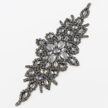 1pc 24*9cm Black Glass Hnadmade Rhinestone Applique for Garment Bags Sewing Chain High Quality