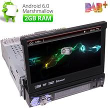 "Single Din 7"" Android 6.0 Car Stereo Radio GPS Navi Player support 3G Wifi OBD2 DAB+ in dash car styling DVD player built in map(China)"
