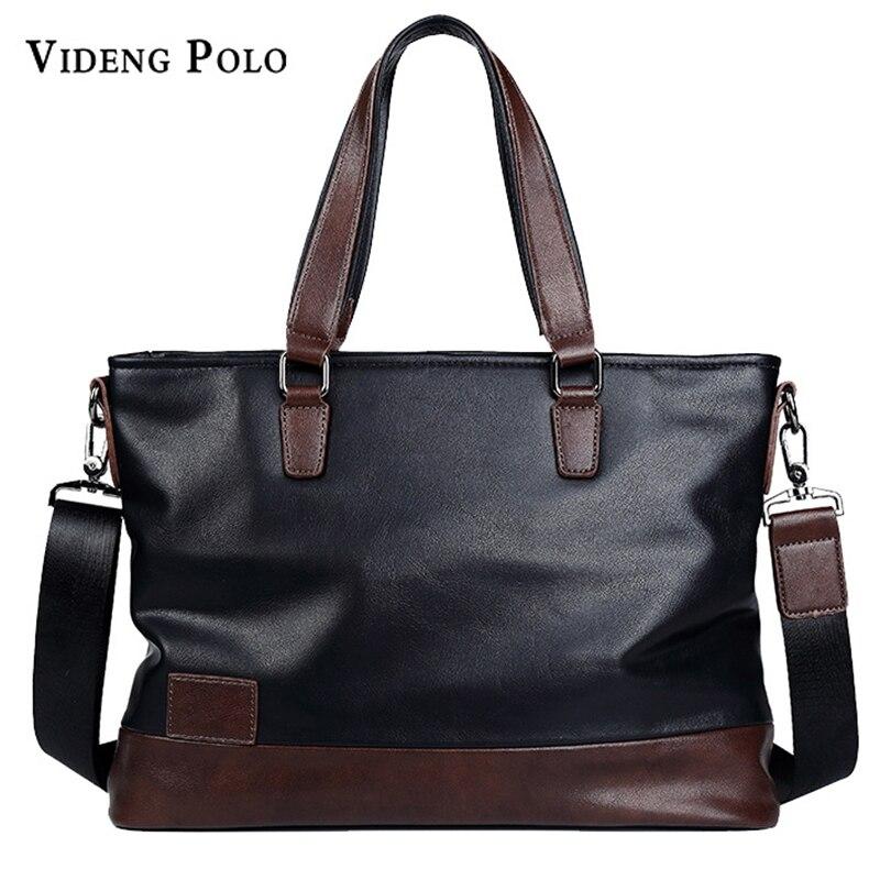 VIDENG POLO New Luxury Brand Men Leather Handbag Laptop Briefcase Men Business Tote Bag leisure Crossbody Shoulder Messenger bag<br>