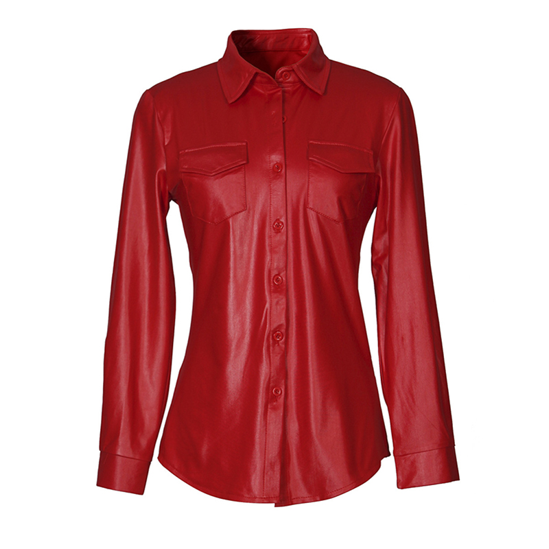 Kostlich Sexy Pu Leather Long Sleeve Blouse Women Shirts Fashion Spring Autumn Women Tops Black Red Ladies Blouses Casual Shirt (22)
