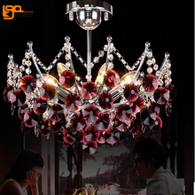 new red chandelier modern crystal lighting dinning room crystal chandelier(China)