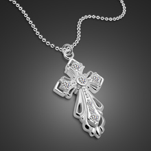 Women's 925 Sterling Silver Necklace Creative Cross Pendant Design Solid Silver Clavicle Necklace Ladies Fashion Jewelery(China)