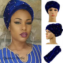 Most Fashion 15colors African headwrap and scarf,Colored beads soft African headtie gele african turban gele,women headtie.HQT11