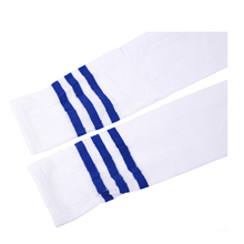 New Navy Blue Football Striped Tube Socks Soccer lacrosse Rugby Sports Socks Knee High Socks