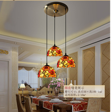 Tiffany Pendant Light 3L Design Vintage Novelty Creative Tiffany Pendant Light Hanging Lamp Glass Lampshade Pendant Lighting