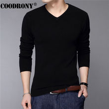 COODRONY Casual Slim Fit Sweater Men Classic Pure Black Pullover Men Solid Color V-Neck Pull Homme Cashmere Wool Sweaters Shirts(China)