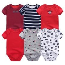 6PCS/LOT Unisex Top Quality Baby Rompers Short Sleeve Cotton Clothes 0-12M Novel Newborn Boys Girls Baby Clothing Roupas bebe de