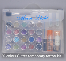 Free shipping 20 colors Glitter Tattoo kit with brushes/glue/stencil for body painting Glitter Temporary Tattoo stencils Kits