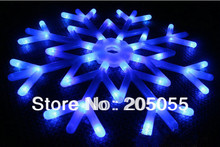 Snowflakes LED fairy String Light snow flake rope motif 40 bulb Indoor/Outdoor Christmas Xmas tree Decor Bracket lamp 220V-Blue(China)