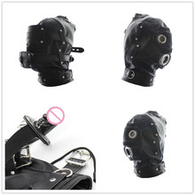 Open Mouth Penis Gag Fetish Bondage Restraint Pu Leather Slave Hood Mask Sex Toys For Couple Adult Game,Sex Products