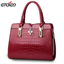 Europe women leather handbags PU handbag leather women bag patent handbag(China)