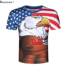 Brand Clothing BIANYILONG 2017 New American eagle Printed 3d T shirts Novelty Animal Women/Men Couples Tee Shirt For(China)
