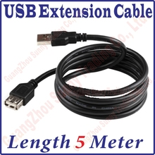 Best Price, 500CM Long USB 2.0 Male to Female Extension Extended Black Data Cable 5M 5meter length USB Extension Cable(China)