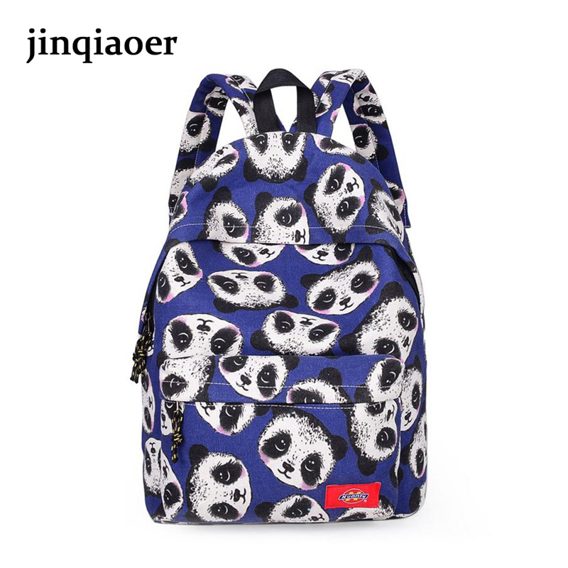 2016 Women Panda printing good quality Canvas Backpack Student School Bag lovely Rucksack Travel Pack Mochila <br><br>Aliexpress