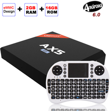 Adroid TV BOX AX5 Amlogic S905X Quad Core Android 6.0 UHD 4K Set Top Box DDR3 2GB+16GB WIFI 2.4G Media Player Keyboard Optional