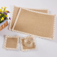 Wholesale 20PCS/Set Jute Coasters Linen Place Mat Cup Pads High Quality Waterproof Placemats Bowl Pad Europe Style(China)