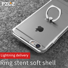 Pzoz Transparent Crystal Clear soft tpu Silicone Protective sleeve ring holder phone case for iphone 6 6s Plus coque cover case