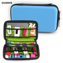 GUANHE Pu Leather Hard Shell Case, Electronic Accessories Organizers for U Disk, SD Card, USB Flash Drives, Power Bank Hard Disk