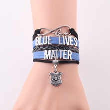 Infinity Love blue lives matter bracelet police charm leather Awareness bracelets & bangles for women men jewelry drop shipping