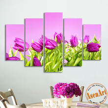 5 Panel Wall Art Purple Flower Painting Modern Art Picture for Living Room Wall Decor Canvas Prints Artwork Frameless