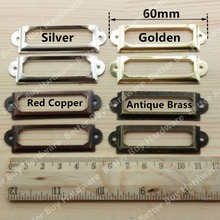 10pcs 60*17mm Antique Brass/Red Copper/Golden Vintage Metal Label Pull Frame Handle File Name Card Holder Drawer Box Case Bin