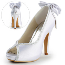 ElegantPark  EP2048-IP White Ivory Peep Toe Rhinestone Back Bow High Heel Women Shoes  Satin Wedding Bridal Pumps