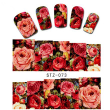 1 sheet Sexy Red Rose Water Transfer Nail Art Stickers Decals Decorations DIY Watermark Wraps Manicure Tools SASTZ-073(China)
