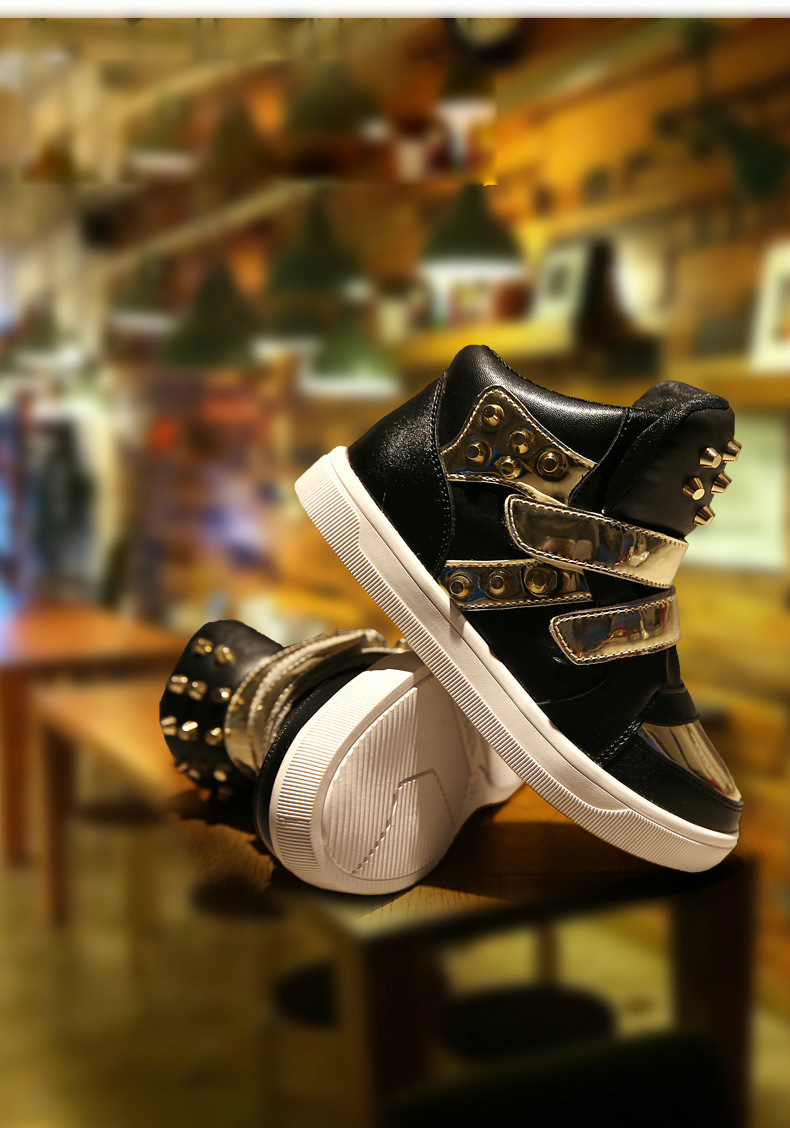 Kids Shoes Glowing Sneakers Baby Boys Girls Sport Shoes New Autumn tenis infantil Children Sneakers Black White with Gold Rivet 20