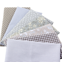 7pcs/lot Gray Floral Patchwork Cotton Fabric Fat Quarter Bundles Sewing Textile Fabric For Bags Sofa Fabric 40x50cm J2-7-1(China)