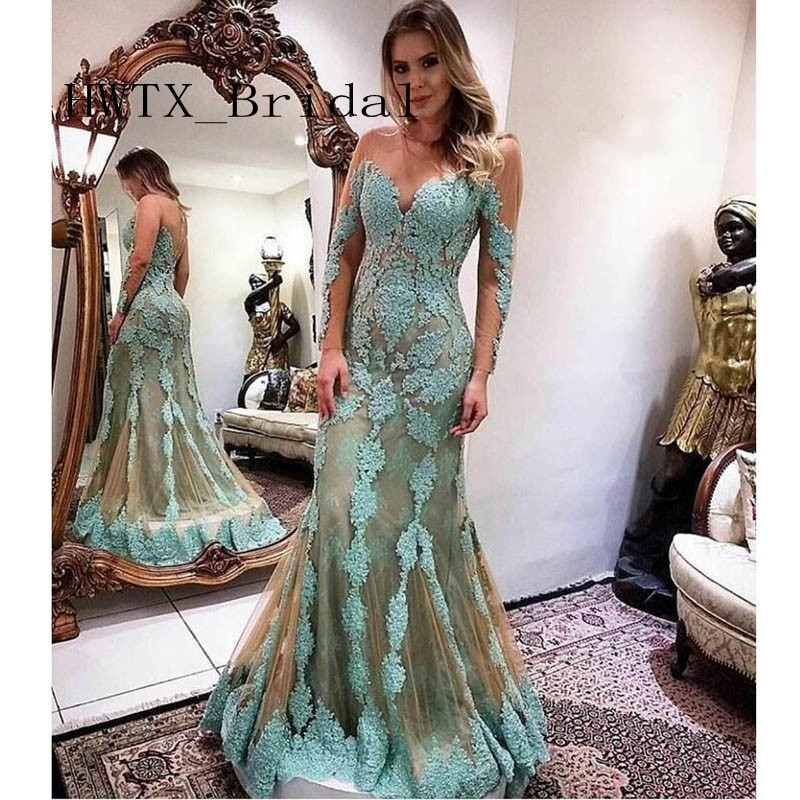 Long Sleeves Lace Applique 2019 Mother of the Bride Dresses Illusion Sheer Bodice Sexy Mermaid Mint Green Long Women Formal Gown