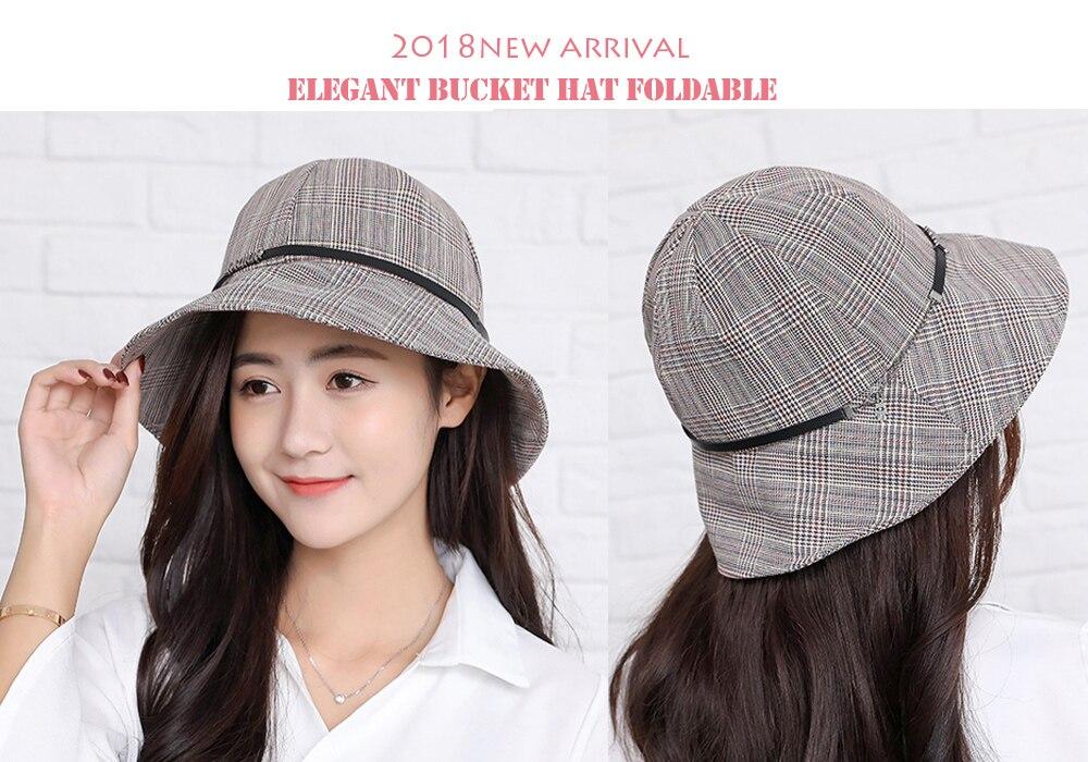 Joejerry Japan And Korea Plaid Bucket Hat Girls Fisherman Hat Sun ... 00117bd6ee38