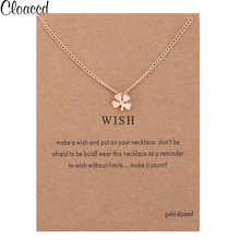 Cloaccd Fashion Gold Color Four Leaf Clover Pendant Necklace for Women Long Chain Wish Necklace Birthday Gifts With Card