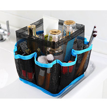 Portable Mesh Shower Tote PVC Toiletry Makeup Cosmetics Storage Organizer Bag with Hook for Home Outdoor Travel Blue and Black