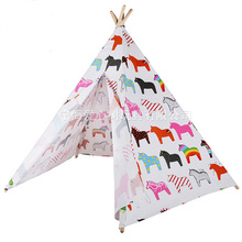 Lovely children pure cotton fabric teepee tents Pure handmade  Indoor and outdoor children's play tent