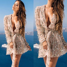 Fashion Women Summer Lace Long Sleeve Party Evening Paillette Short Mini Dress
