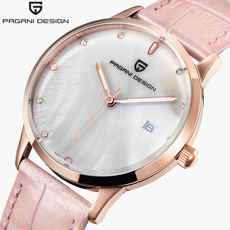 Ladies Watches Women Gold Shell Dial Watch Elegant Casual Wrist Watches Female Leather Dress Clock Reloj Mujer Pagani Design <br>
