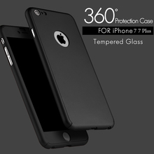 7 Plus 360 Case Full Body Cover Protection Phone Cases For Iphone 7 7 Plus Luxury 3 in 1 Armor Back Cover Funda Free Glass Film(China)