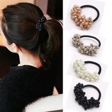 3pcs New Women Girl's Headwear Hair Accessories Rhinestone Imitation Pearls Beads Elastic Hair Band Rubber Ties Ponytail Holder(China)