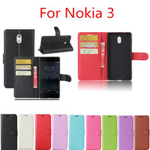 For Nokia 3 Case 5.0inch Luxury Leather Wallet Cover Case For Nokia 3 Phone Cases with Standing / Card Holder