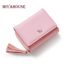 Miyahouse Female Small Wallets Women Tassel Pendant Short Money Wallets PU Leather Ladies Zipper Coin Purse Fashion Card Holders
