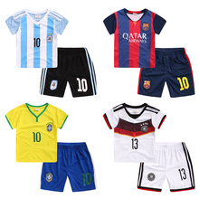 Quick-drying fabric Boys soccer uniform 2017 summer wear short-sleeved shirt suits children children's clothing baby u2195