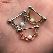 Hot Sale 2Pcs titanium Nipple Shield Piercing 14G Opal Nipple Rings Body Jewelry Good Friend Gift(China)