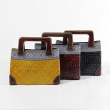 2017The new European and American style straw package Thai version of the handbag ladies hand bag bag rattan bag