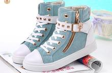 2017 Europe Style High-Top Flat Women Fashion Canvas Shoes Zipper Casual Women Shoes Ladies White Espadrilles Zapatillas Mujer