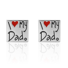 Luxury Men I LOVE MY DAD Cufflinks High Quality Lawyer Father's Day gift Cufflinks For Mens Shirt Cuff Links French Jewelry(China)