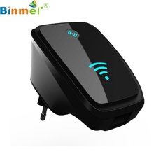 Beautiful Gift New EU Plug 300M Wireless-802.11N Wifi Repeater Network Wlan Router AP WPS Adapter Black Wholesale price Feb26