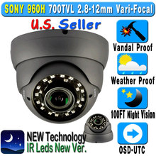 "1/3"" SONY CCD 24IR Wide Angel 2.8~12mm Vari-Focal Vandalproof Dome Security Camera"